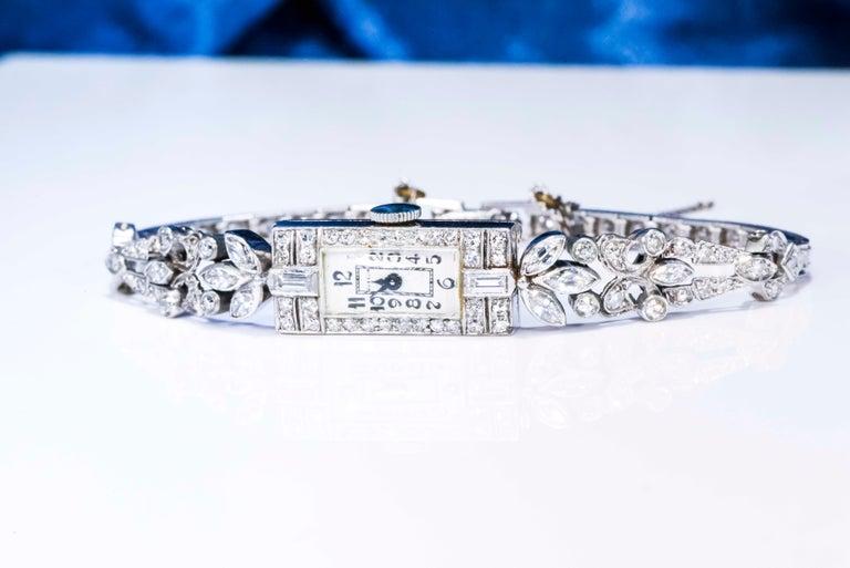 1920s Art Deco Platinum Diamond Set Gubelin Marquis Floral Motif Bracelet Watch 12