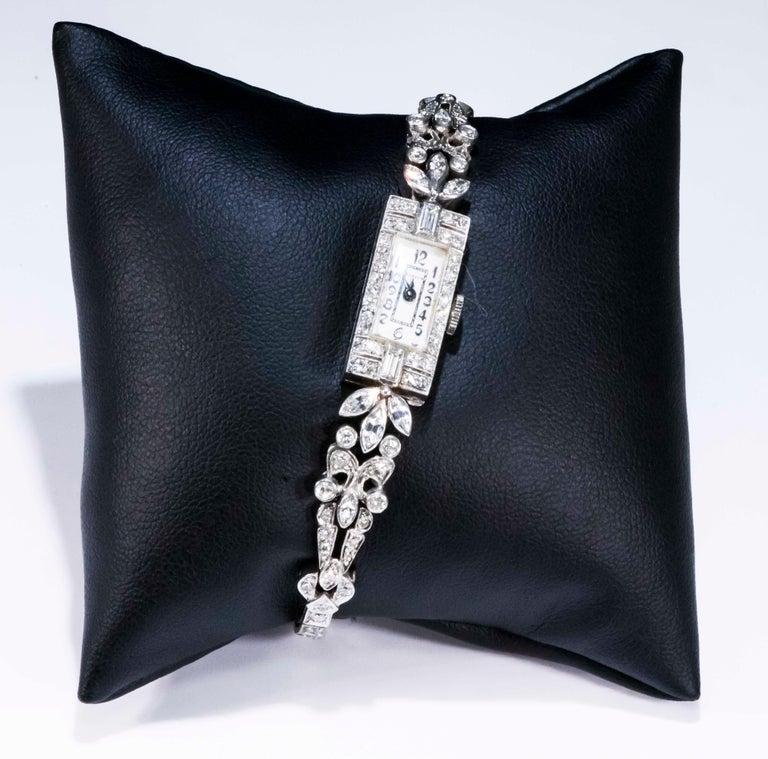 1920s Art Deco Platinum Diamond Set Gubelin Marquis Floral Motif Bracelet Watch 13