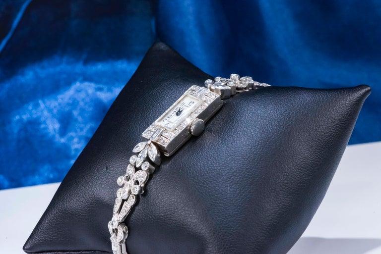 1920s Art Deco Platinum Diamond Set Gubelin Marquis Floral Motif Bracelet Watch 14