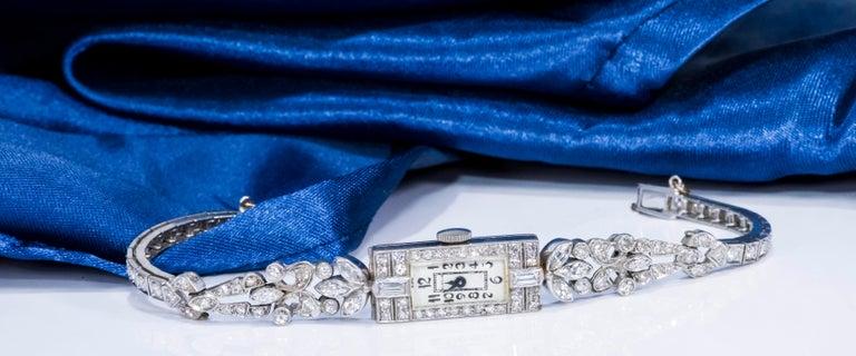 Marquise Cut 1920s Art Deco Platinum Diamond Set Gubelin Marquis Floral Motif Bracelet Watch