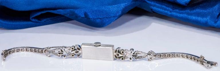 Women's or Men's 1920s Art Deco Platinum Diamond Set Gubelin Marquis Floral Motif Bracelet Watch
