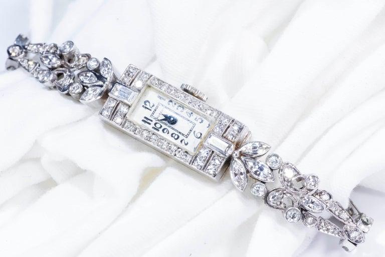 1920s Art Deco Platinum Diamond Set Gubelin Marquis Floral Motif Bracelet Watch 1