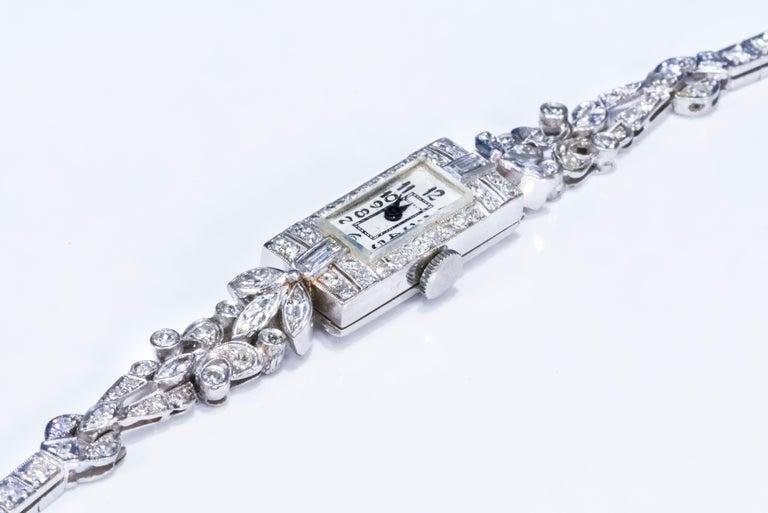 1920s Art Deco Platinum Diamond Set Gubelin Marquis Floral Motif Bracelet Watch 2
