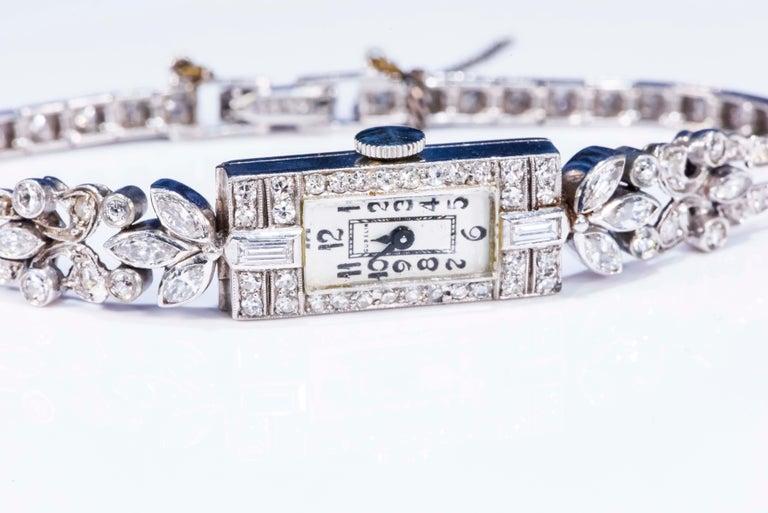 1920s Art Deco Platinum Diamond Set Gubelin Marquis Floral Motif Bracelet Watch 3