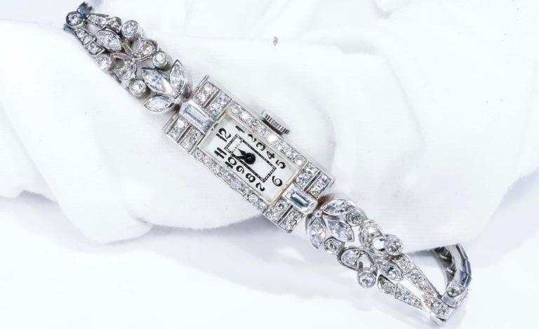 1920s Art Deco Platinum Diamond Set Gubelin Marquis Floral Motif Bracelet Watch 4