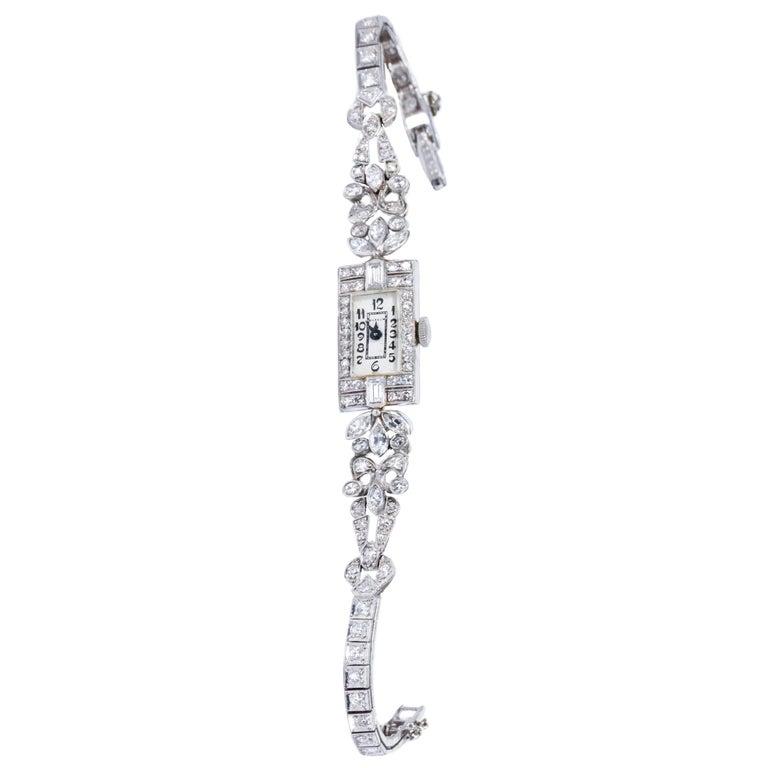 1920s Art Deco Platinum Diamond Set Gubelin Marquis Floral Motif Bracelet Watch