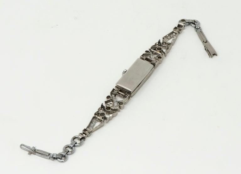 1920s Art Deco Platinum Egyptian Revival Diamond Set Bracelet Watch For Sale 1