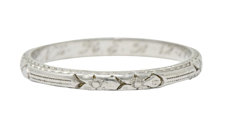 Women's or Men's 1920s Art Deco Platinum Flower and Wheat Band Ring For Sale