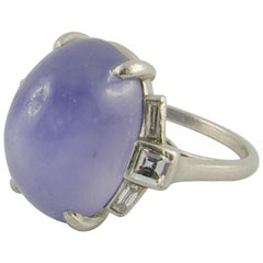 1920s Art Deco Platinum Star Sapphire and Diamond Ring