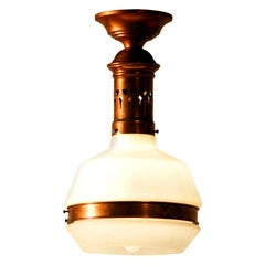 1920s Art Deco Red Copper Pendant Lamp with Opaline Glass