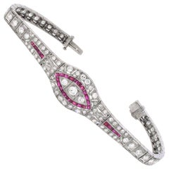 1920s Art Deco Ruby and Diamond Bracelet, 18 Karat White Gold