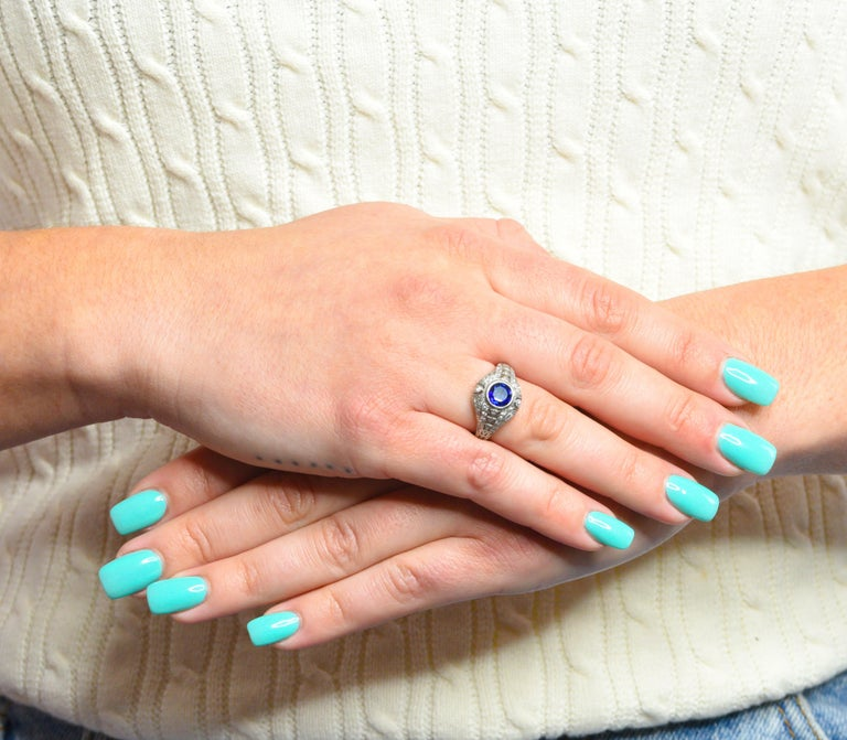 1920's Art Deco Sapphire Diamond Platinum Bombe Band Ring For Sale 5