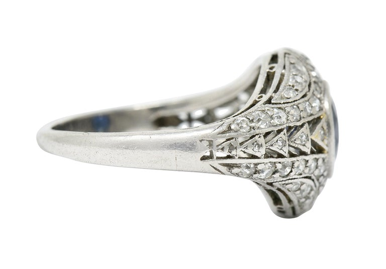 Cushion Cut 1920's Art Deco Sapphire Diamond Platinum Bombe Band Ring For Sale
