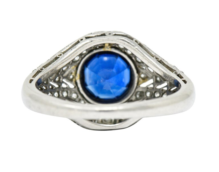 1920's Art Deco Sapphire Diamond Platinum Bombe Band Ring In Excellent Condition For Sale In Philadelphia, PA