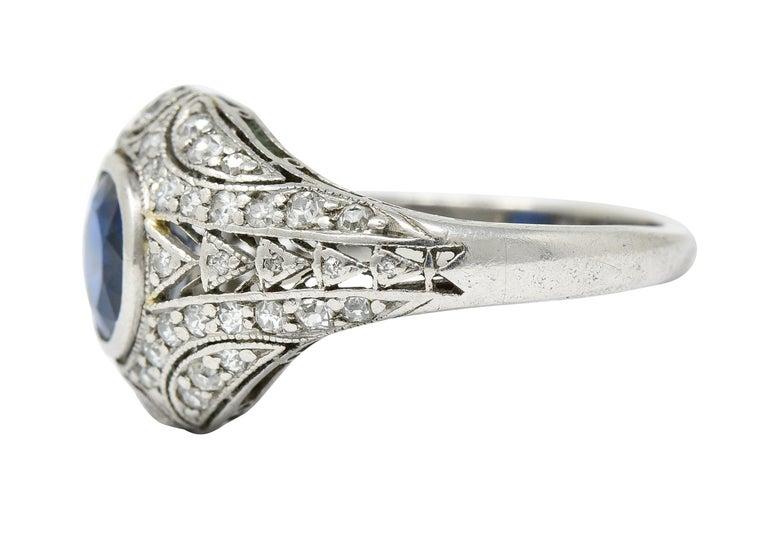 Women's or Men's 1920's Art Deco Sapphire Diamond Platinum Bombe Band Ring For Sale