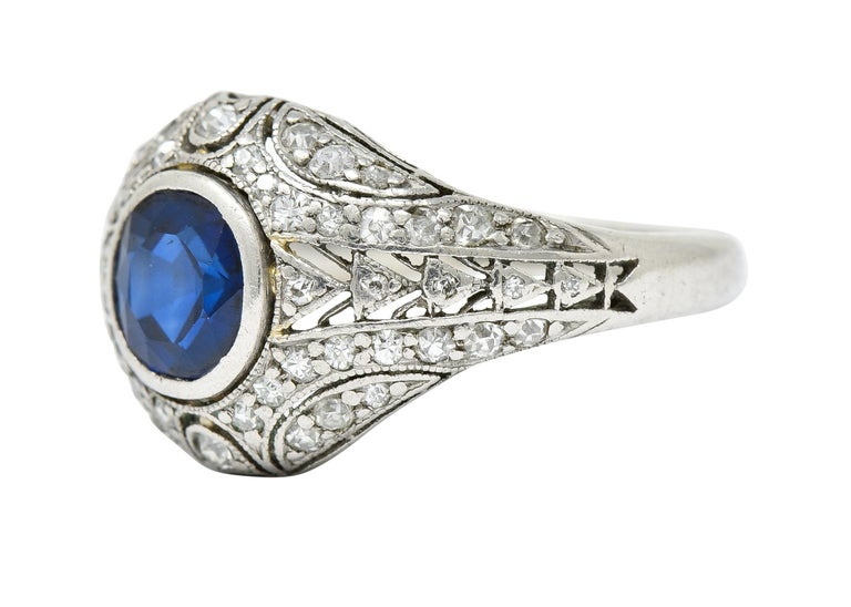 1920's Art Deco Sapphire Diamond Platinum Bombe Band Ring For Sale 1