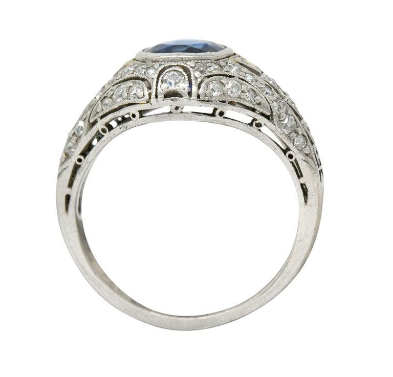 1920's Art Deco Sapphire Diamond Platinum Bombe Band Ring For Sale 2