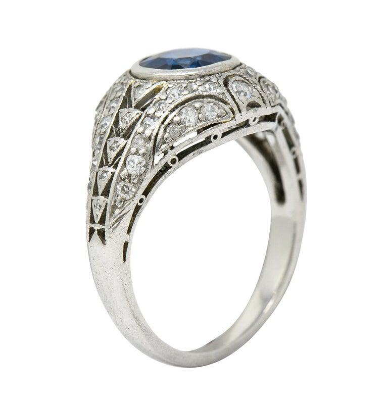1920's Art Deco Sapphire Diamond Platinum Bombe Band Ring For Sale 3