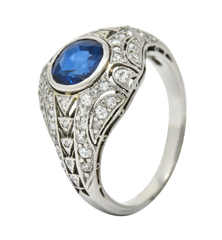 1920's Art Deco Sapphire Diamond Platinum Bombe Band Ring For Sale 4