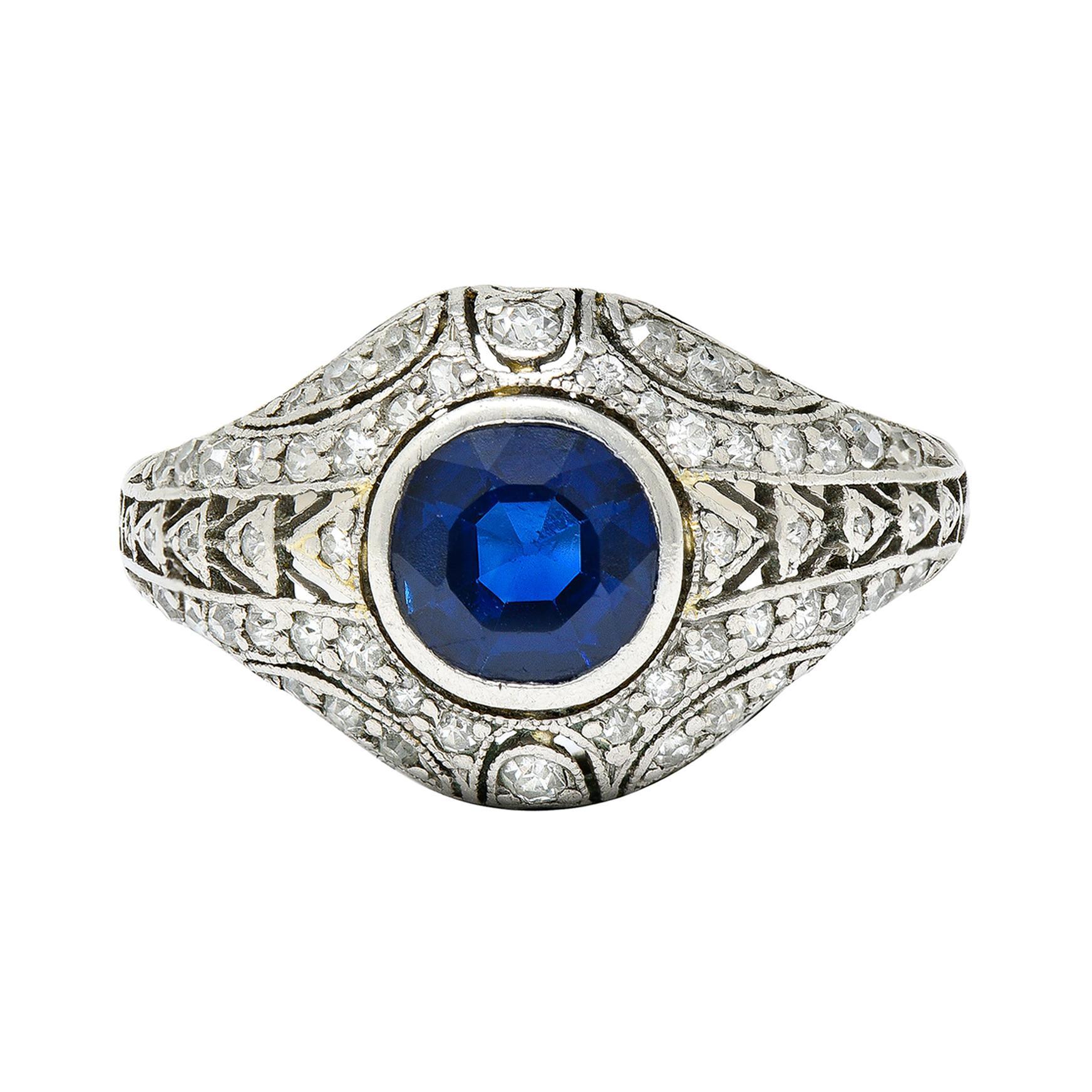 1920's Art Deco Sapphire Diamond Platinum Bombe Band Ring