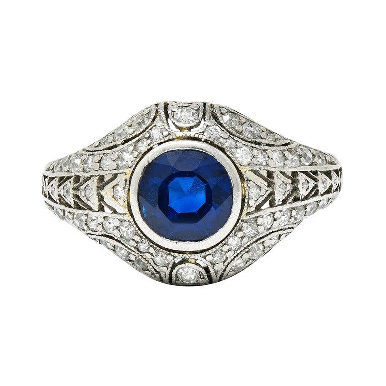 1920's Art Deco Sapphire Diamond Platinum Bombe Band Ring For Sale
