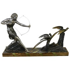 1920s Art Deco Sculpture by Uriano, Woman Shooting Two Birds