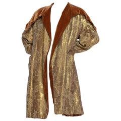 1920S Art Deco Silk Lamé Cocoon Coat Lined In Velvet