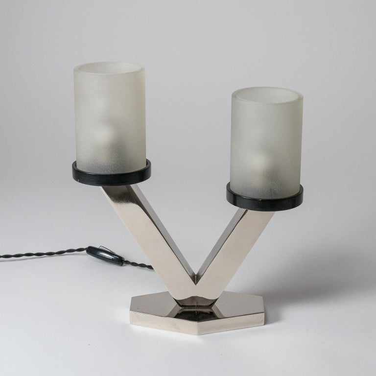 1920s Art Deco Table Lamps, Nickel and Glass For Sale 5