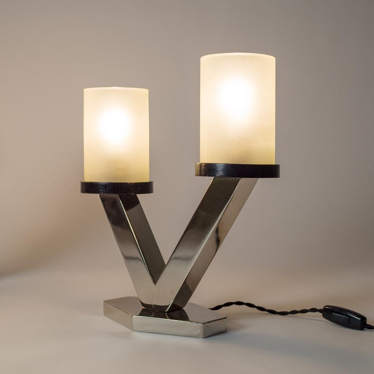 1920s Art Deco Table Lamps, Nickel and Glass For Sale 9
