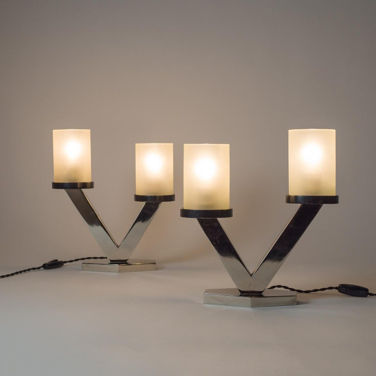 1920s Art Deco Table Lamps, Nickel and Glass For Sale 10