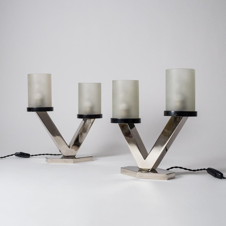 1920s Art Deco Table Lamps, Nickel and Glass For Sale 11