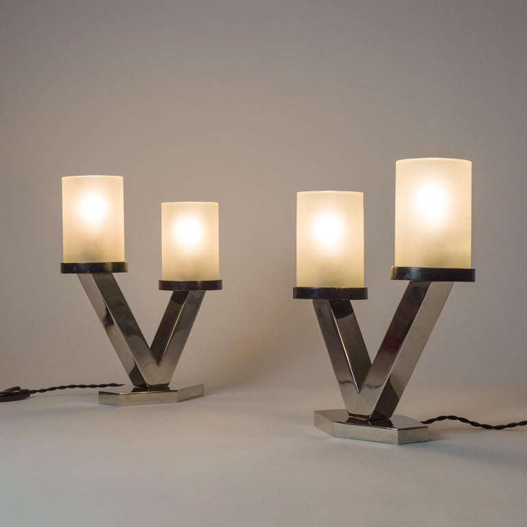 European 1920s Art Deco Table Lamps, Nickel and Glass For Sale