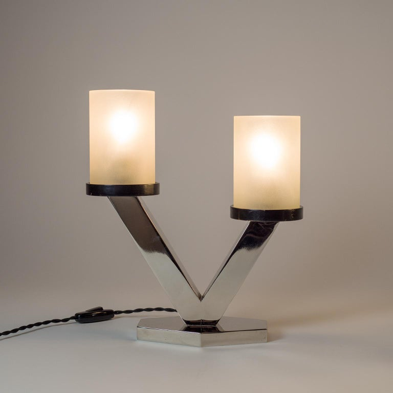 Frosted 1920s Art Deco Table Lamps, Nickel and Glass For Sale