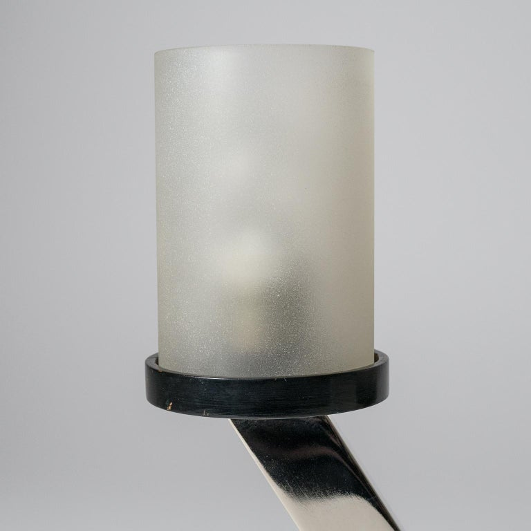 Early 20th Century 1920s Art Deco Table Lamps, Nickel and Glass For Sale