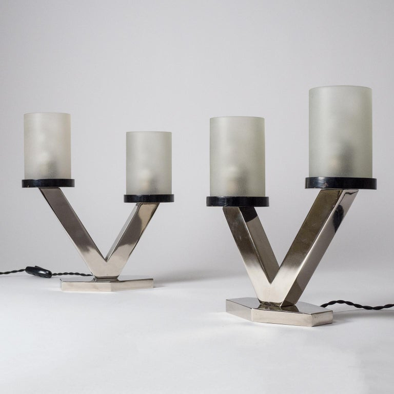 1920s Art Deco Table Lamps, Nickel and Glass For Sale 3