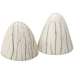 1920s Art Deco Tip of Walrus Tusks Salt and Pepper Shakers with Silver Bottom