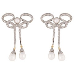 1920s Art Deco Vintage Inspired Bow Earrings with Diamonds and Pearls