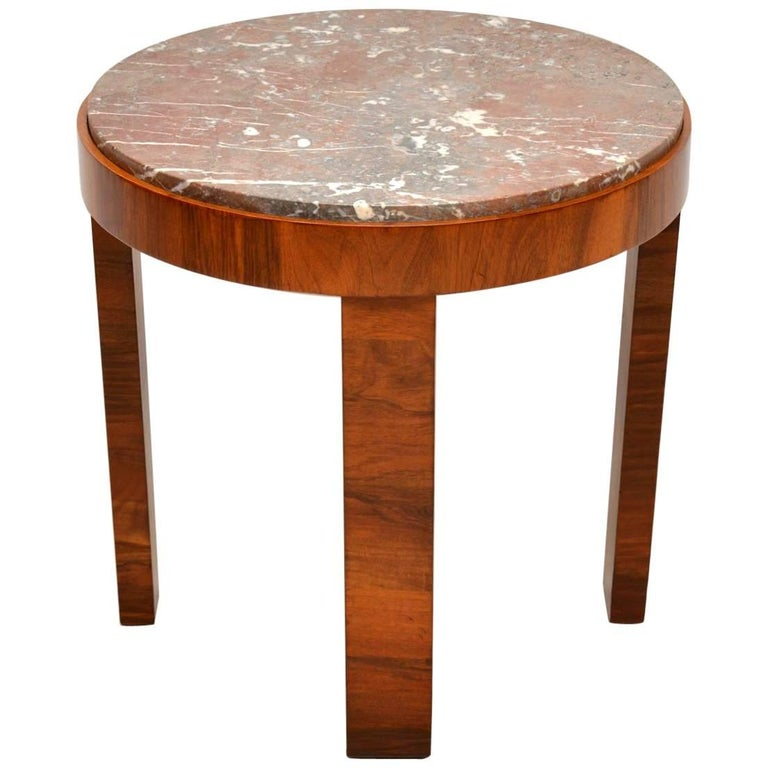 1920s Art Deco Walnut And Marble Coffee Table For Sale At