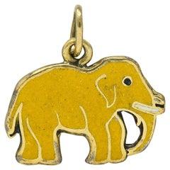 1920s Art Deco Yellow Enamel 14 Karat Gold Elephant Charm