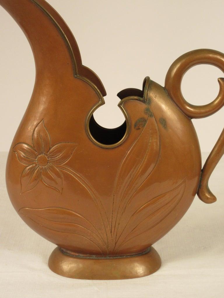 1920s Art Nouveau Copper Pitcher For Sale 2