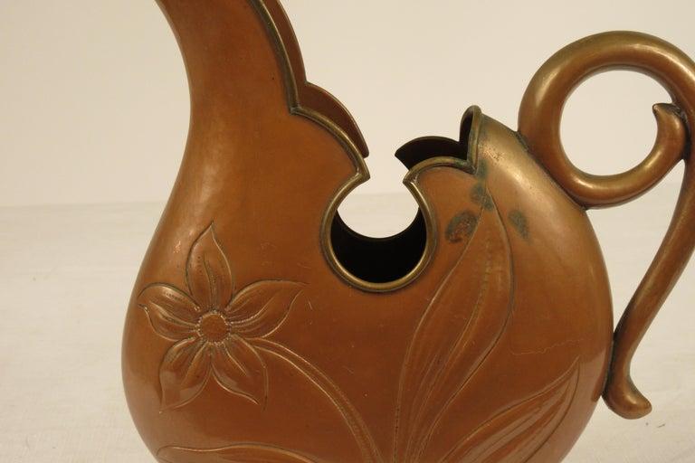 1920s Art Nouveau Copper Pitcher For Sale 3
