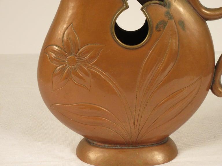 1920s Art Nouveau Copper Pitcher For Sale 4