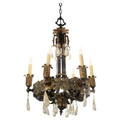 1920s Art Nouveau Style Iron and Bronze Six-Light Chandelier with Rock Crystals