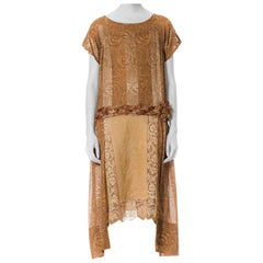1920S  Art Nova Lace And Embroidery Embellishment Short Sleeve Dress