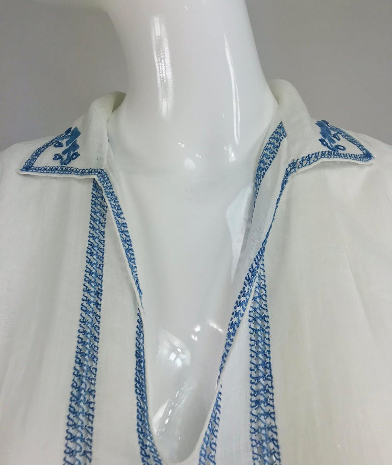 1920s Arts and Crafts Hand Embroidered Blue and White Linen Day Dress For Sale 9