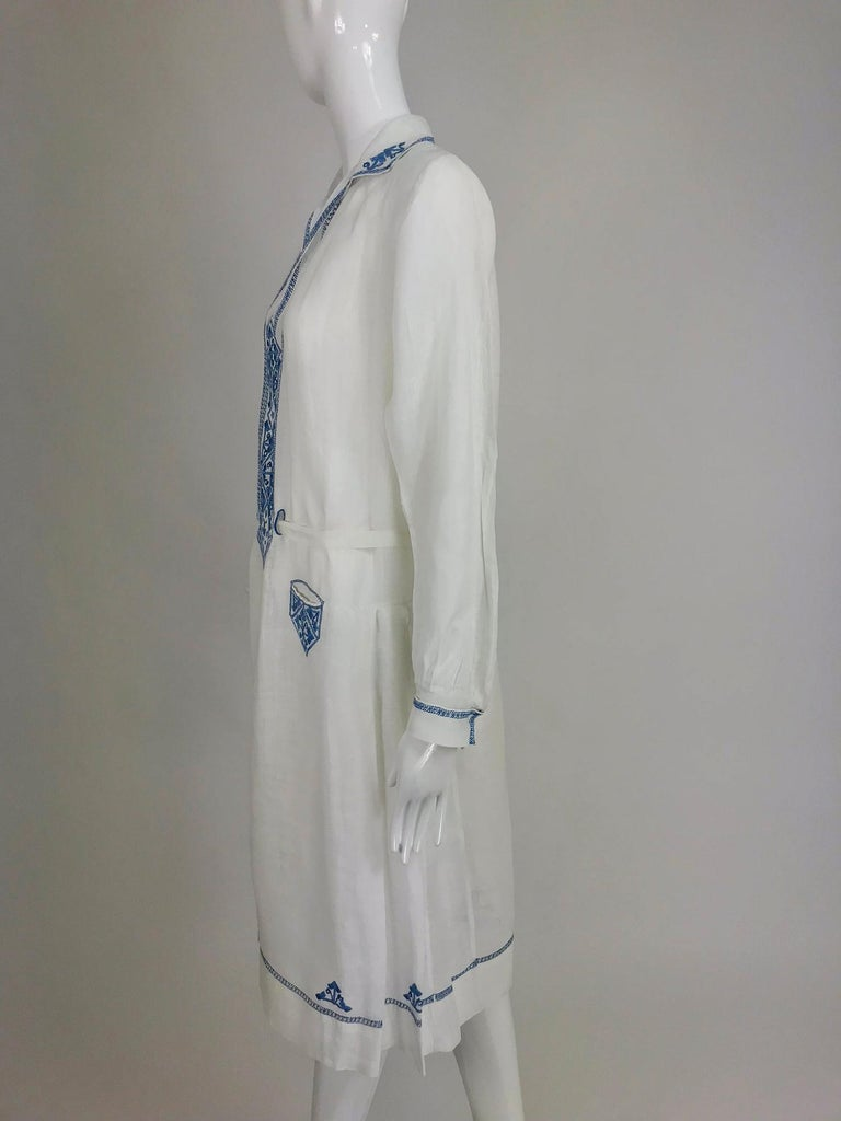 Women's 1920s Arts and Crafts Hand Embroidered Blue and White Linen Day Dress For Sale