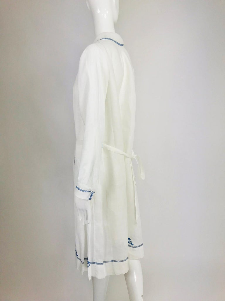 1920s Arts and Crafts Hand Embroidered Blue and White Linen Day Dress For Sale 1
