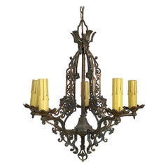 1920s Arts & Crafts Five Arm Chandelier with Bronze Finish