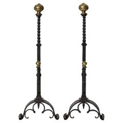 1920s Arts & Crafts Hand Forged Iron and Bronze Andirons