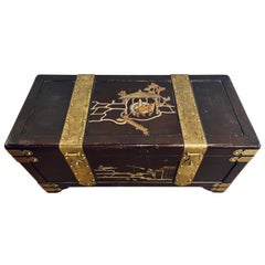 1920s Asian Dowry, Blanket or Storage Chest, Bronze Decorated J. L. George